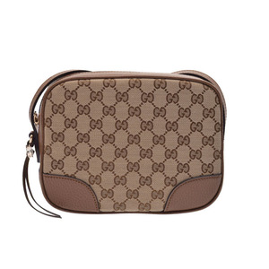 Gucci shoulder bag brown beige ladies GG canvas leather outlet unused beautiful goods GUCCI secondhand silver store