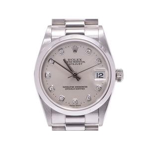 ロレックス デイトジャスト シルバー文字盤 10Pダイヤ 78246A A番 ボーイズ PT 自動巻 腕時計 Aランク 美品 ROLEX 中古 銀蔵
