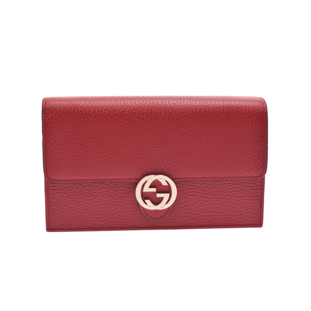 55ed54e61a6 Gucci interlocking G chain wallet red fittings women s leather outlet  unused beautiful goods GUCCI box secondhand ...