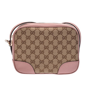 Gucci shoulder bag pink beige ladies GG canvas leather outlet unused beautiful goods GUCCI second hand silver storage