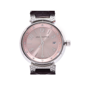 Louis Vuitton Tambour Q121Y Women's Lug Dial 12P diamond SS / leather quartz wristwatch A rank beautiful goods LOUIS VUITTON box gura second hand grate