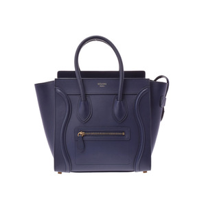Celine pure micro shopper navy ladies calf handbag A rank beautiful item  CELINE second hand silver 8b457b1d68986