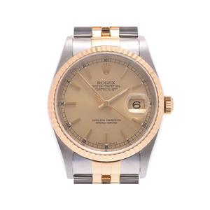 ロレックス デイトジャスト シャンパン文字盤 16233 A番 メンズ SS/YG 自動巻 腕時計 Aランク 美品 ROLEX ギャラ 中古 銀蔵