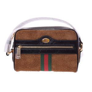Gucci offia mini bag brown ladies suede unused beautiful goods GUCCI used silver storage