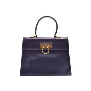 Salvatore Ferragamo Ferragamo Gantini 2 WAY Handbag Purple G Metallurgy Ladies' Calf B Rank FERRAGAMO with strap Used silver storage