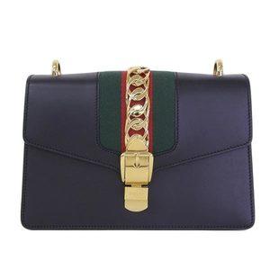 Genuine GUCCI Gucci calfsilvy shoulder bag black 421882 leather