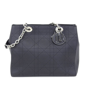 Genuine Christian Dior Leather Cannage Chain Tote Bag Black Silver Hardware