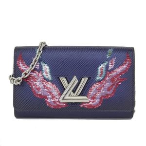 Genuine Louis Vuitton Epiphotophille Twist Sequined Folded Long Purse Navy Model Number: M64041 Wallet Leather