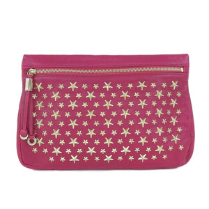 Genuine JIMMY CHOO Jimmy Chew Leather Star Studs Clutch Bag Pink Gold Hardware