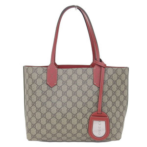 Genuine GUCCI Gucci Leather Reversible Tote Bag GG Pattern Red 372613