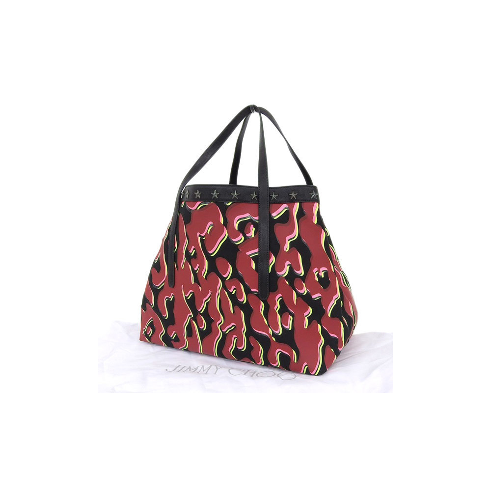 Genuine JIMMY CHOO Jimmy Cheust Star Studs Camouflage Tote Bag Multi Color Leather