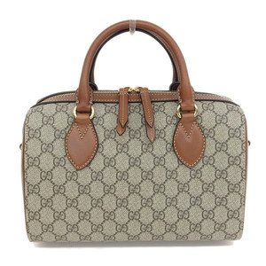 0c41c755563 Genuine GUCCI Gucci GG 2way mini Boston bag shoulder handbag PVC beige  leather