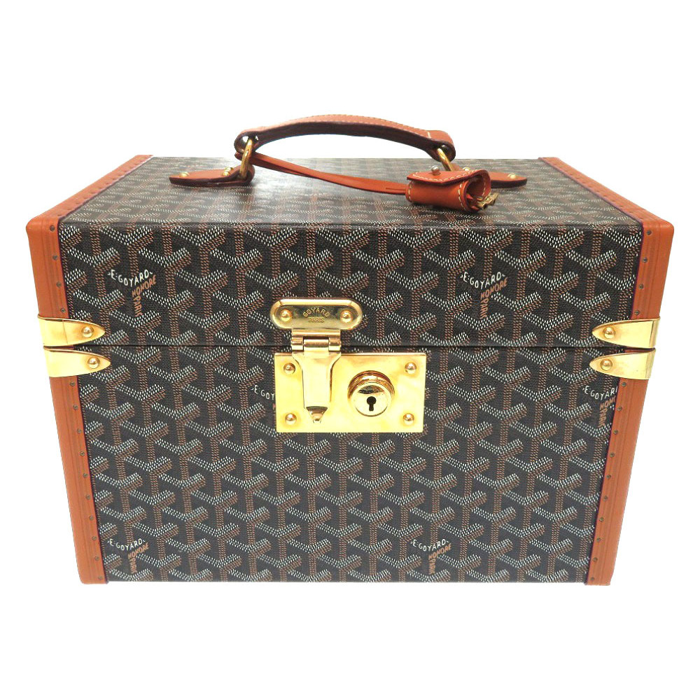 Goyar herringbone jewelry box case brown leather PVC wood bag 0309 GOYARD