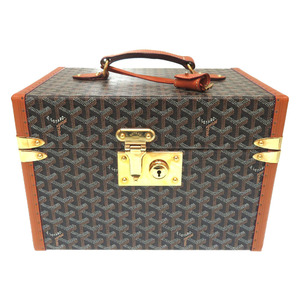 Goyar herringbone jewelry box case brown leather PVC wood bag 0309 GOYARD
