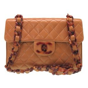 Chanel Plastic Chain Lambskin Brown Matrasse Coco Mark 3rd Shoulder Bag 0054 CHANEL