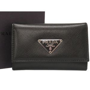 Prada Leather Black 6 Case Triangular Plate 0370 PRADA