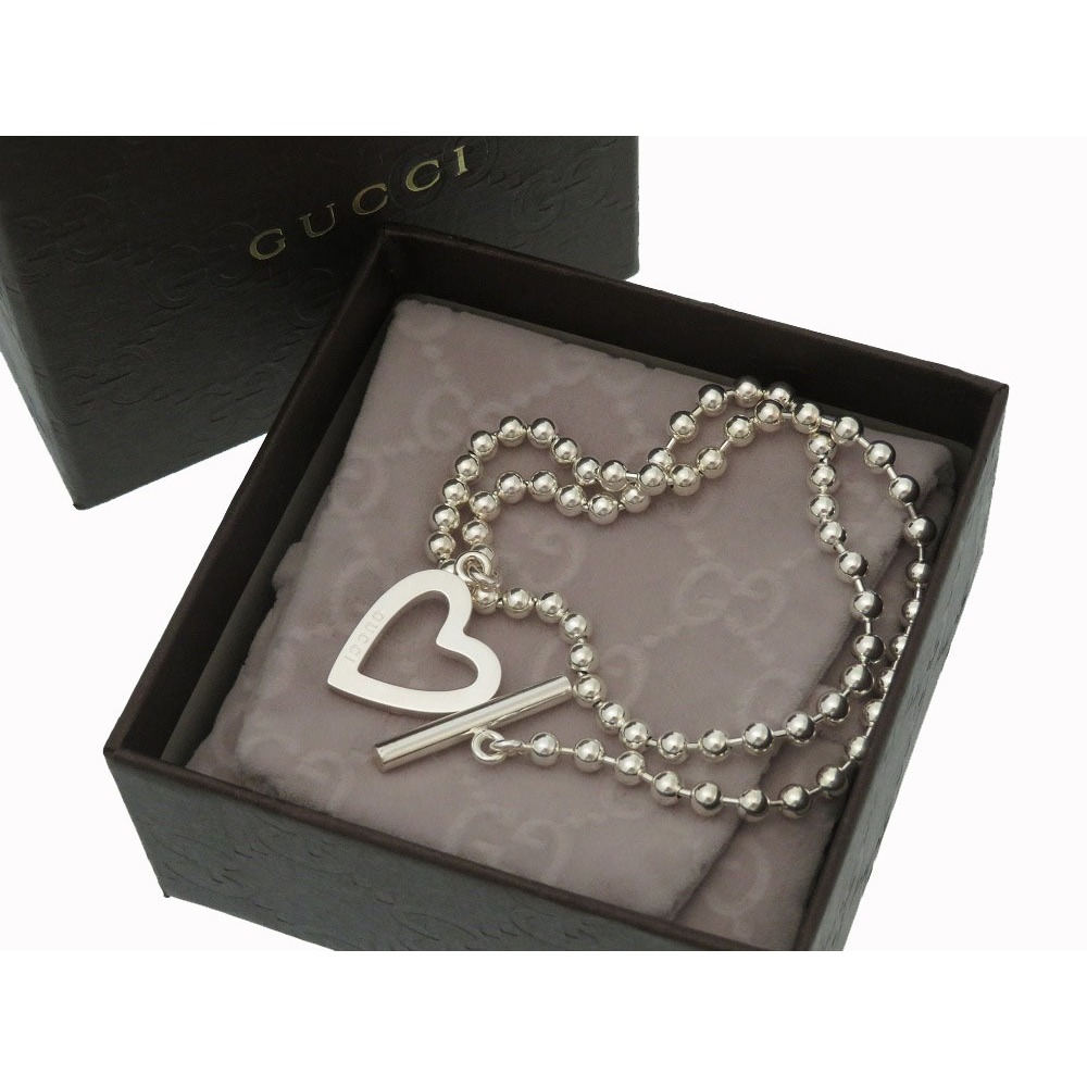 be3d03e6f58 Gucci Heart motif Paul Necklace Bracelet 925 Silver Accessories 0226 GUCCI  Women s
