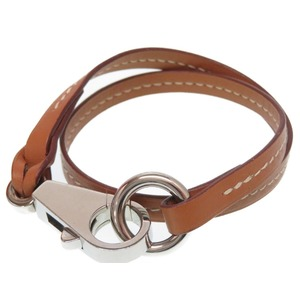 Hermes strap type leather brown 2 pairs bracelet accessory 0160 HERMES