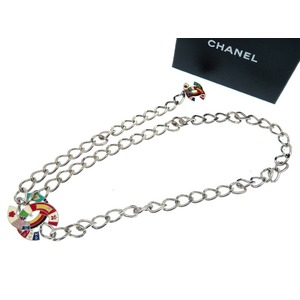 Chanel chain belt Coco mark national flag Silver 0134 CHANEL Women's