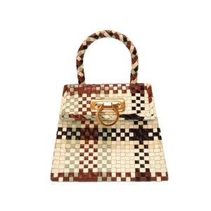 Salvatore Ferragamo Gancini Leather Handbag Multi Color Brown 0078 Women's