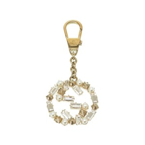 Gucci Bag Charm Key Ring Rhinestone / Fake Pearl Gold Accessory 0166 GUCCI Women's