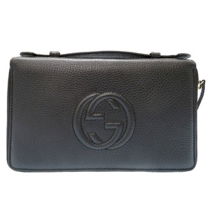Gucci Soho Leather Travel Case Purse Bag Black Mens 0110 GUCCI