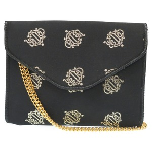 Christian Dior Silk Satin Chain Shoulder Bag / Clutch Vintage Black 0015