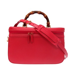 Gucci 2 Way Vanity Bag Shoulder Hand Old with Strap Red 0072 GUCCI