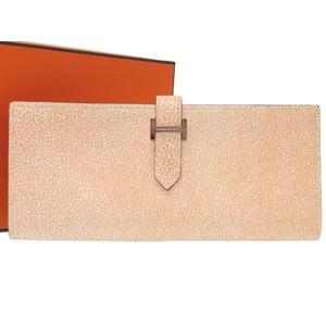 Hermes Bearn Booffle Kippa - Orange Dalmatian Silver Hardware □ J Engraved Long Purse Wallet SP Order 0188 HERMES