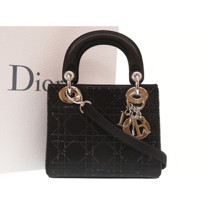 Christian Dior Lady Kanage Satin Rhinestone Black 2 Way Handbag Bag 0028