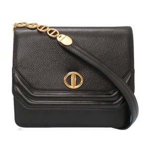 Christian Dior Vintage Leather Black Shoulder Bag Gold Hardware 0178 Women's