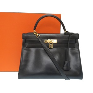d000dd028cd1 Hermes Kelly 32 box calf black inside sewing handbag with shoulder strap 〇  V engraved 0087