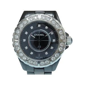 Chanel J12 genuine diamond bezel quartz wristwatch ceramic / black letter board 0004 CHANEL men's