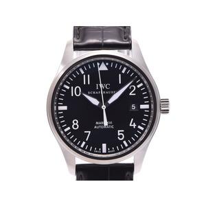 IWC マークX VI 黒文字盤 IW325501 メンズ SS/革 自動巻 腕時計 Aランク 美品 箱 中古 銀蔵