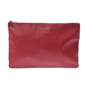 Saint-laurent clutch bag red men's ladies leather B rank SAINT LAURENT second hand silver storage