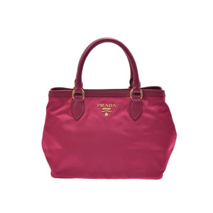 Prada 2WAY handbag pink type 1BA 172 women's nylon leather unused beautiful goods PRADA strap attaching Galla secondhand silver stock