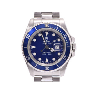 Tudor mini submariner blue dial plate 73190 ladies' SS automatic winding wristwatch AB rank TUDOR box gallery pre-owned silver storage