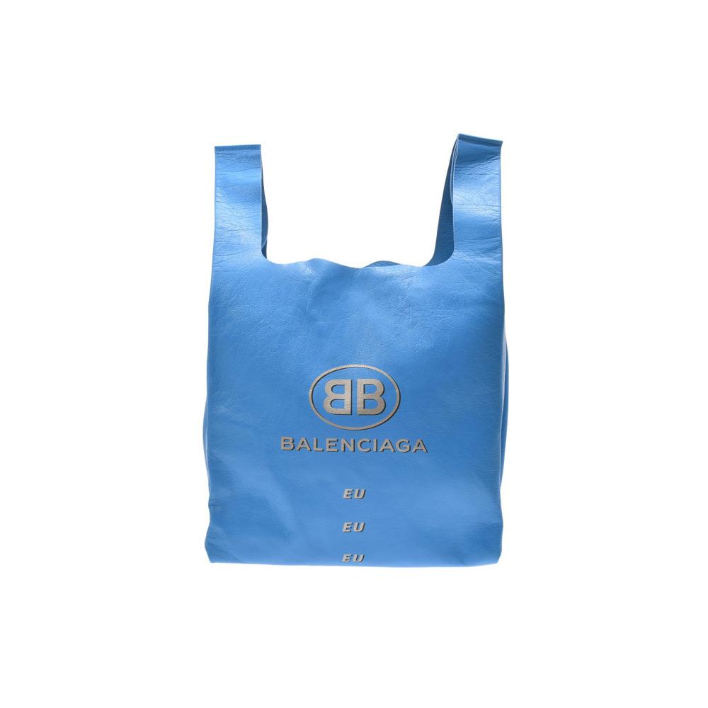 バレンシアガ(Balenciaga) バレンシアガ スーパーマーケットショッパー ブルー レディース メンズ ラムスキン バッグ 未使用 美品 BALENCIAGA 中古 銀蔵