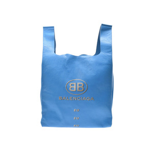 Balenciaga Supermarket Shopper Blue Ladies Men's Lambskin Bag Unused Beauty Item BALENCIAGA Used Ginza