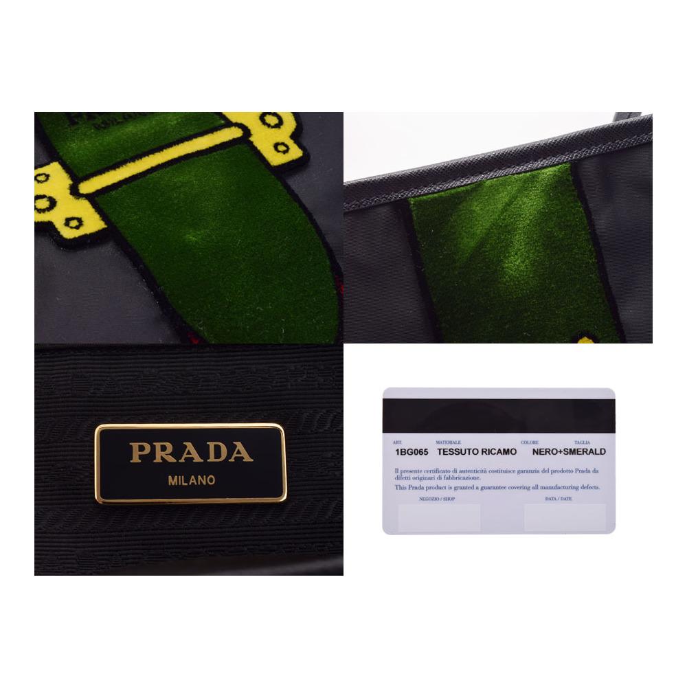 Prada Tote Bag Green Red Black Ladies Nylon Leather Velor Unused ... 8bc1fbd48efdb