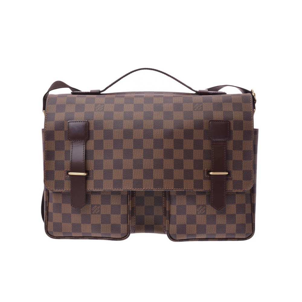 60b26a3541 Louis Vuitton Damier Broadway Brown N42270 Men s real leather business bag  handbag A rank 美 品 LOUIS VUITTON second ...