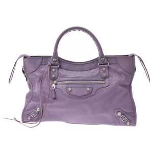 Balenciaga Giant City Purple SV metal fittings Women's leather 2 WAY bag A rank 美 品 BALENCIAGA second hand silver storage