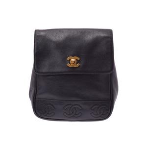 シャネル(Chanel) シャネル リュック トリプルココマーク 黒 G金具 レディース キャビアスキン バックパック ABランク CHANEL 中古 銀蔵