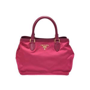 Prada 2WAY handbag pink type 1BA104 women's nylon leather unused beautiful goods PRADA strap attaching Gala used silver storage