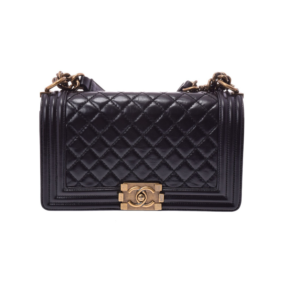 79737e62ee2b Chanel Boy chain shoulder bag black vintage fittings ladies calf A rank  beautiful goods CHANEL second ...