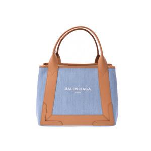 45c2c2a149 Balenciaga navy hippo S light blue series   natural ladies denim leather  tote bag unused beautiful