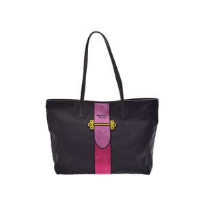 Prada Tote Bag Pink Black Ladies Nylon Leather Velor Unused beauty item PRADA Sky Gala Used Ginza