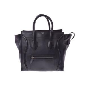 95bdca9b23 Celine luggage mini shopper black ladies leather handbag AB rank CELINE  second hand silver storage