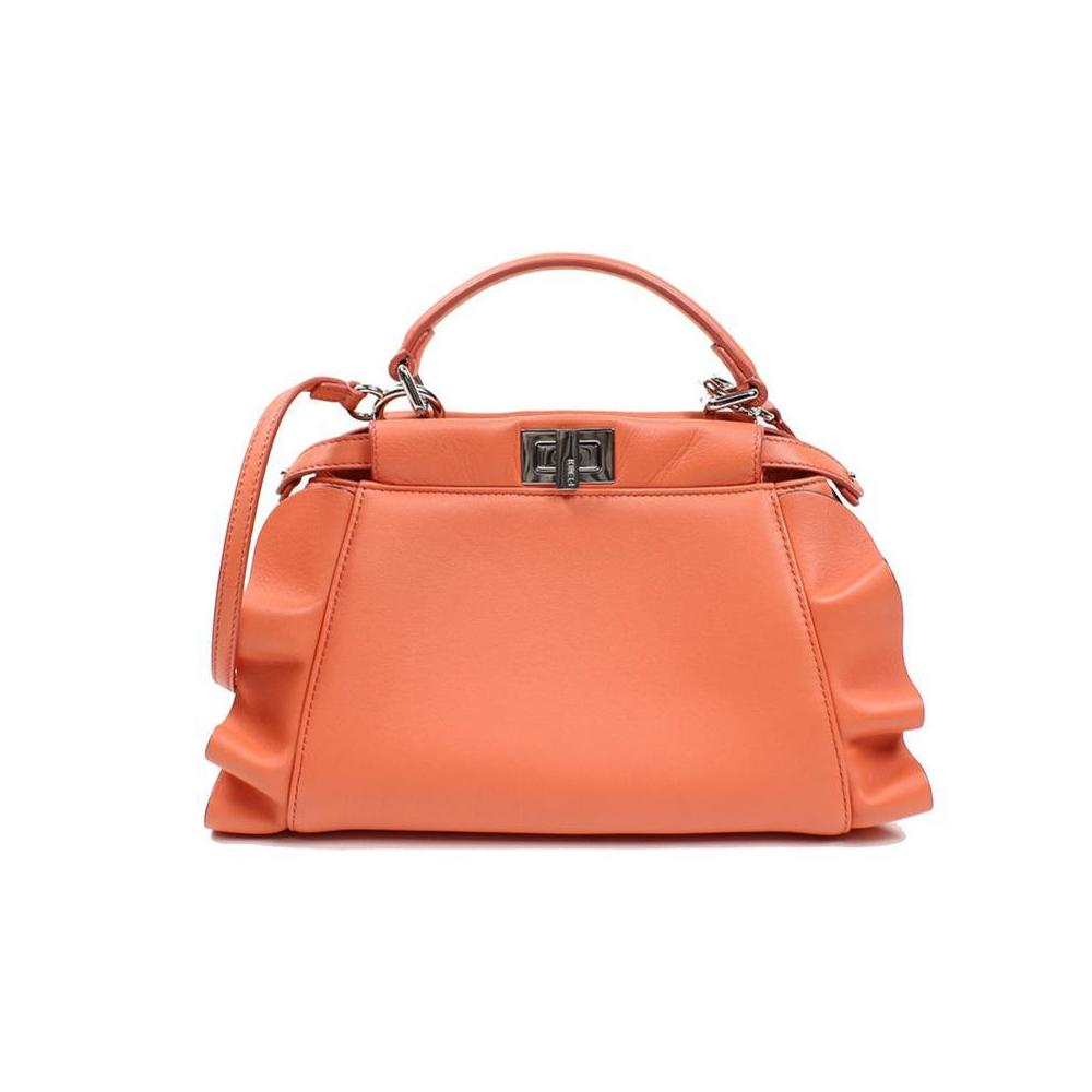 Fendi FENDI mini peekaboo 8BN290 nappa leather orange silver bracket handbag ladies