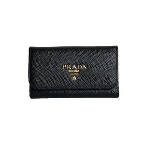 Prada PRADA 6 key case Saffiano 1 PG 222 NERO Gold hardware Women's
